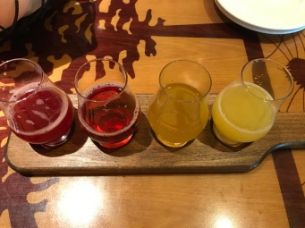 Mimosa flight flavors raspberry infunsed champagne, cranberry mimosa, peach Bellini, classic mimosa